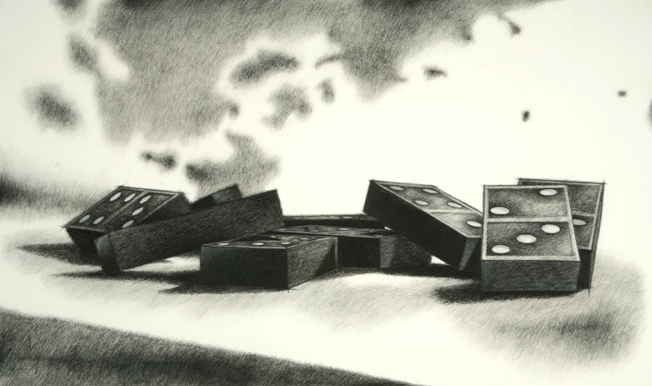 "DOMINO THEORY I charcoal on paper 27"" x 43"""