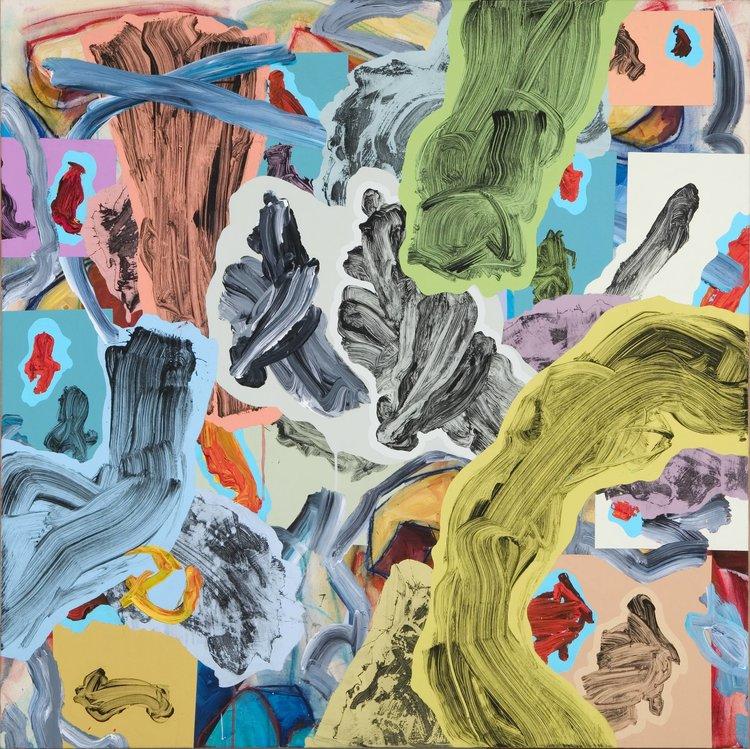 """MAPPING PANGEA II acrylic on canvas 45"""" x 45"""""""