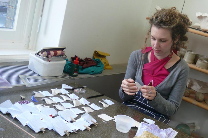 Michelle working with super ceramic fabric forms and glaze compatibility