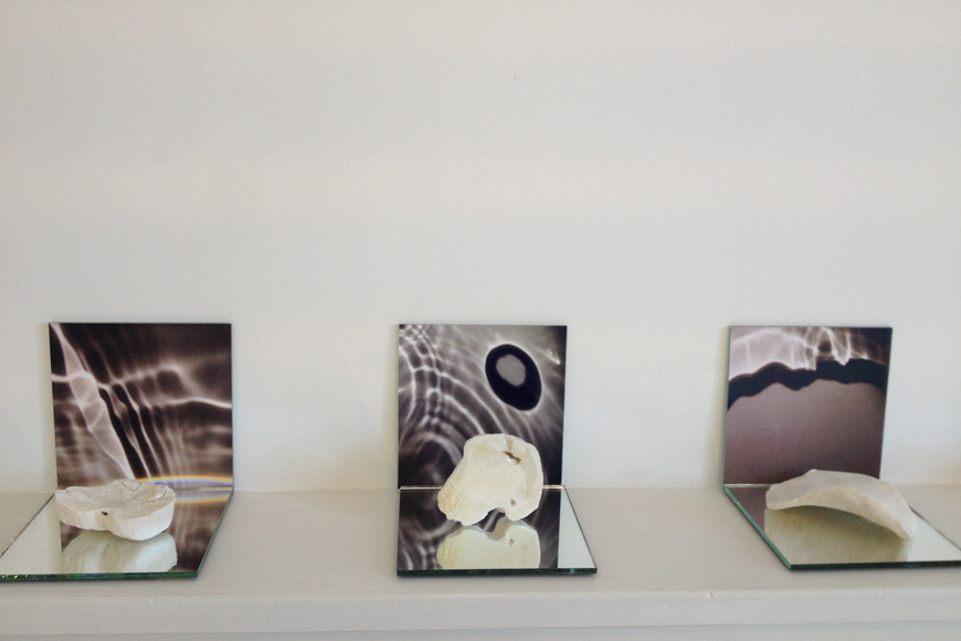 Close up of Collection of five collaborative work between Kim Norton and Alexandra Mazur-Knyazeva porcelain and photography