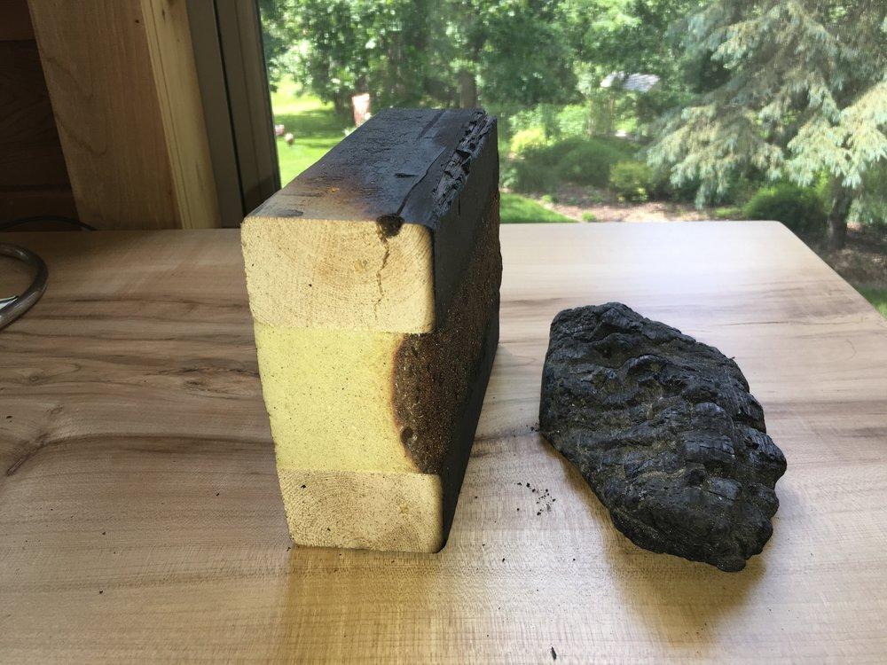 Burn Test:. Tstud™ (left) vs a 2x6 (right).