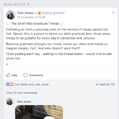 The Gratitude Thread on Facebook. Caffeine and drugs have featured quite heavily this month