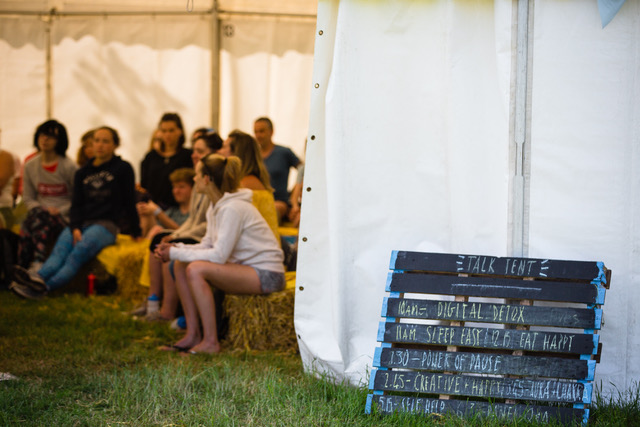 Hay bales and self-help in the Talk Tent