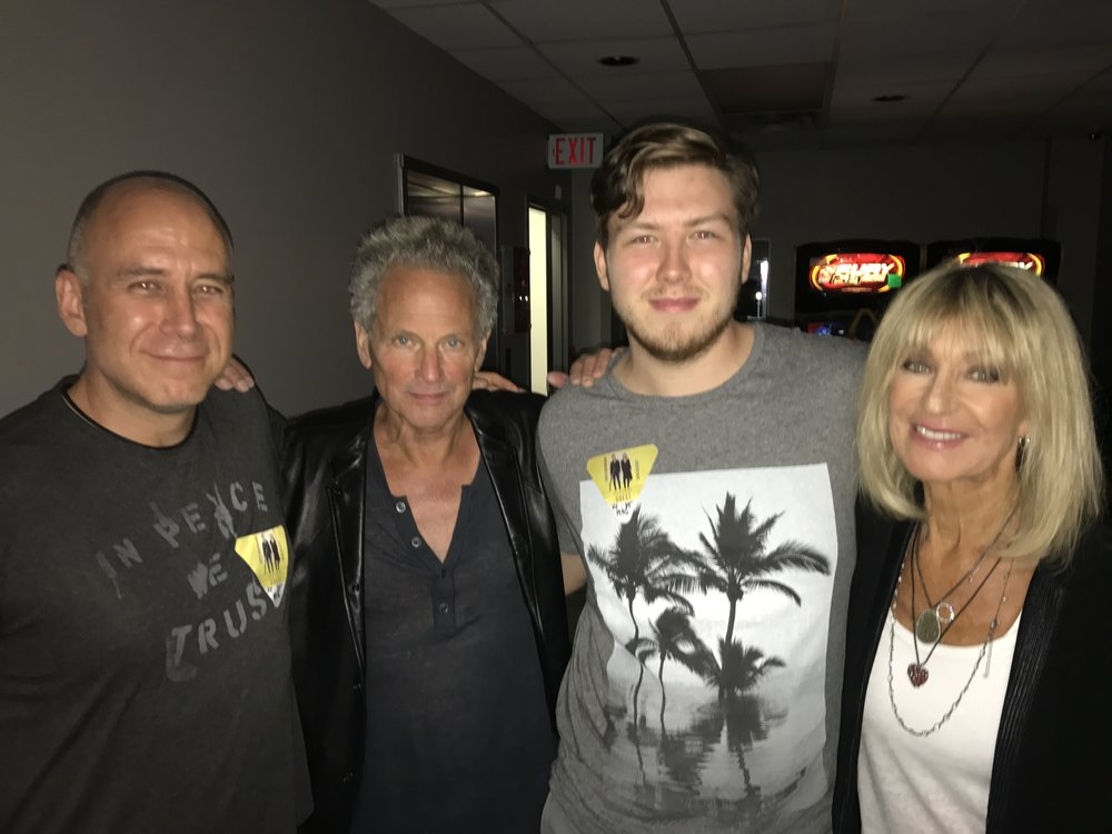 Steve, his youngest son Matt, with Lindsey Buckingham and Christine McVie of Fleetwood Mac (Summer 2017)