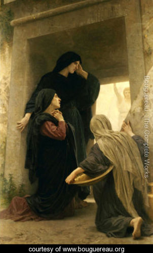 The three women discovering the empty tomb of Christ.