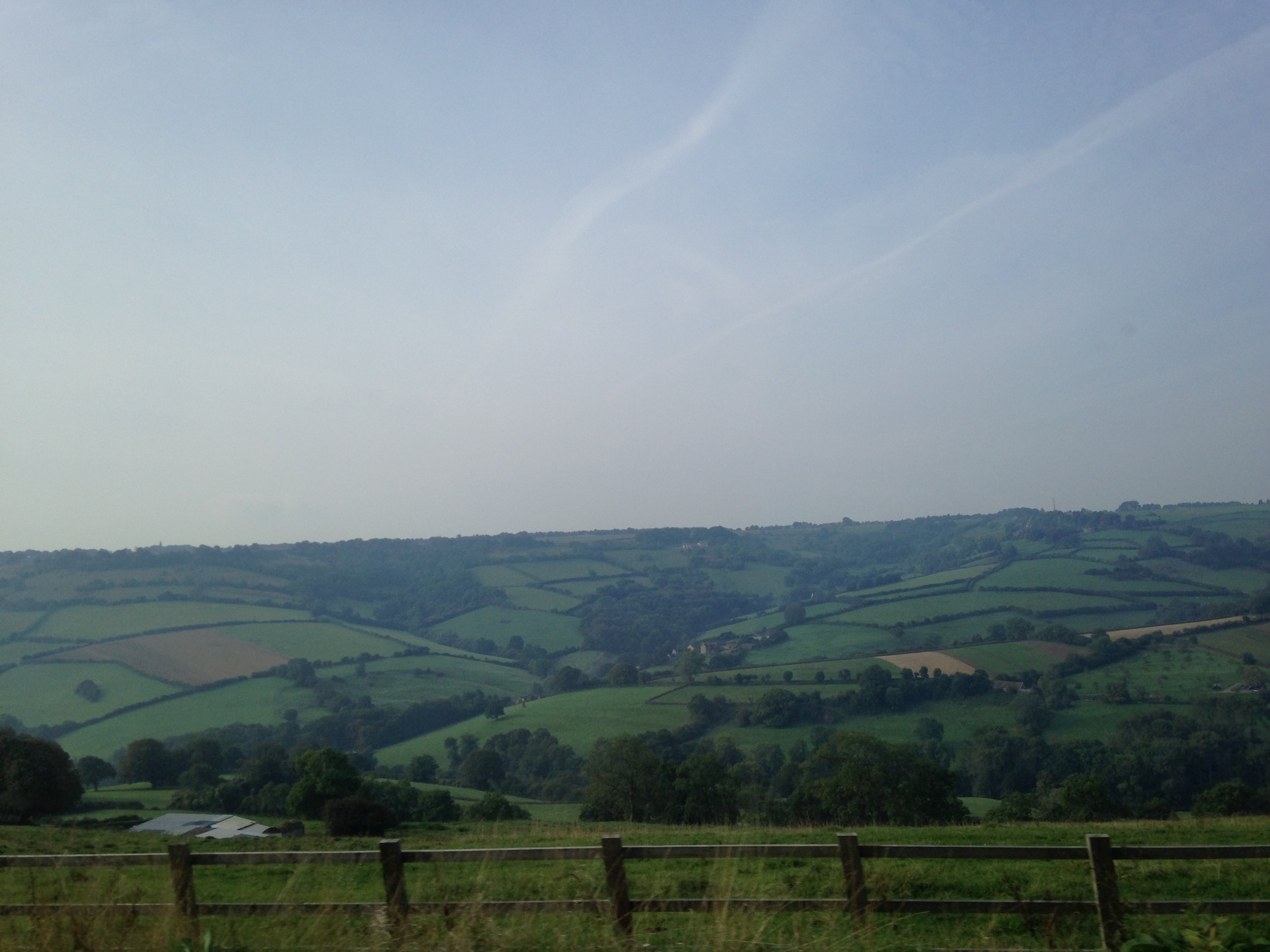 The patchwork fields on the way to Bath.