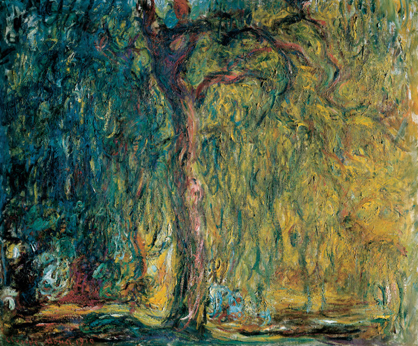 Weeping Willow , Claude Monet (1918-1919). Incidentally, Money suffered from failing eyesight throughout his career, which was reflected in his increasingly impressionistic paintings.