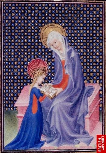 St Anne teaching the Virgin to Read. Breviary of John the Fearless.