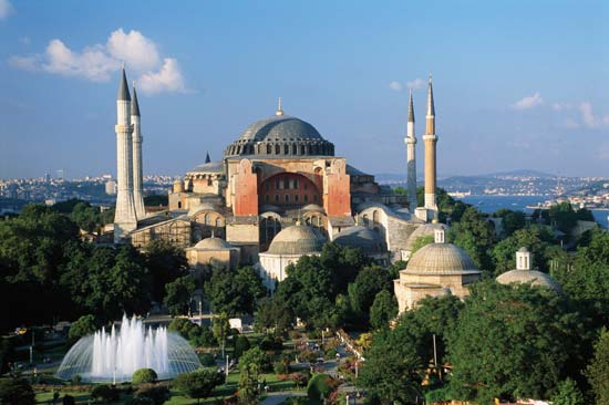 This is the basilica, turned mosque, turned museum in Istanbul called Hagia Sophia and dedicated to the Holy Wisdom.
