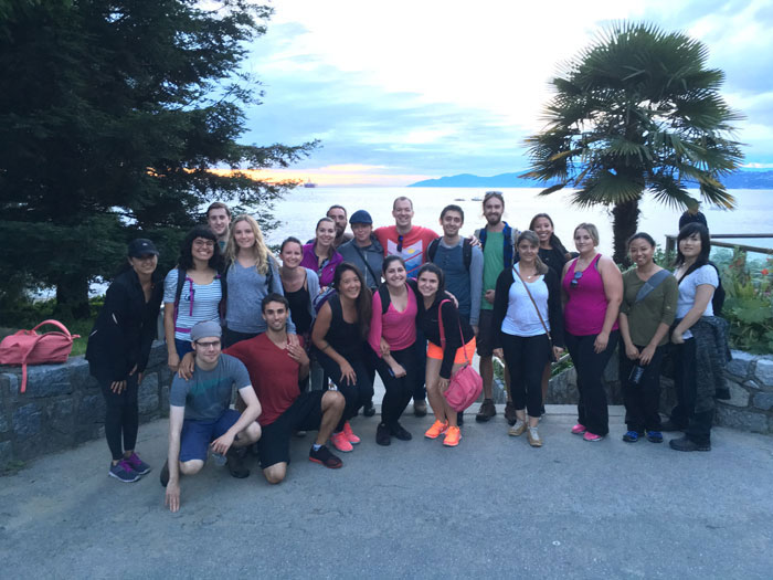 A group shot at Third Beach after one of our Tuesday evening Stanley Park quests in the summer.