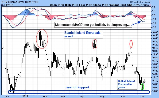SLV iShares Silver Trust NYSE. Bearish Island Reversals in red. Bullish Island reversal in green.