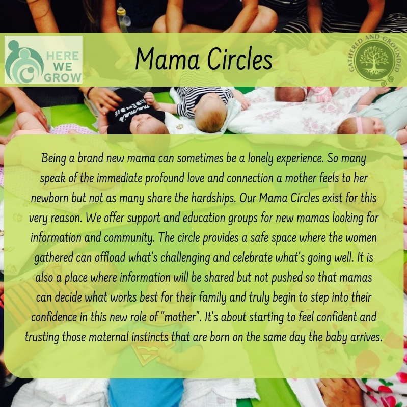 Register - Mamas' CircleThursdays: 1/17/19 - March 7, 2019, 12:00pm - 1:30pmAges: Birth - 6 months or pre-crawlers Investment per mama/babe: $250* *Determined by Here We Grow.
