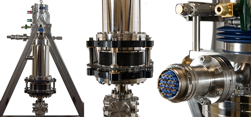 Ultra-low vibration cryostat for Atom Chip Experiments. Sample area features include UHV vacuum enclosure constructed of non-magnetic 316L Stainless steel and a mechanical Z-translator for accurate sample alignment with respect to the windows.