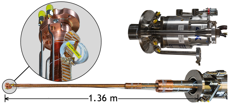 """High power cryostat with 6ft extension for insertion into a superconducting vector magnet. Includes wiring for RF Measurements and XYZ Piezo Stage control. All feedthroughs and hoses are bent for 360 degree cryostat rotation within a 10"""" clear diameter."""