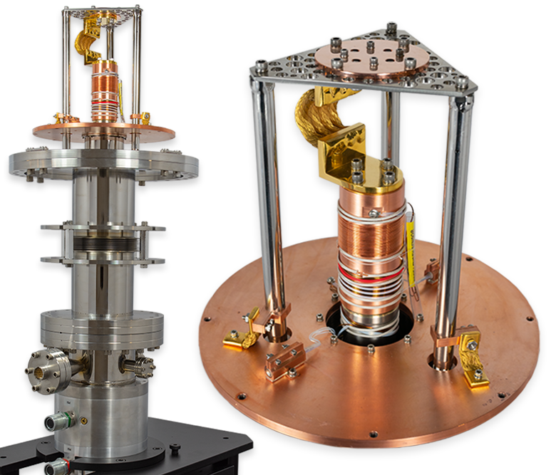UHV, Ultra-low Vibrations Cryostat for cooling an Ion Gun. The cryostat will be inserted into a particle accelerator for cooling a cathode tube array that fires charged ions into the accelerator.