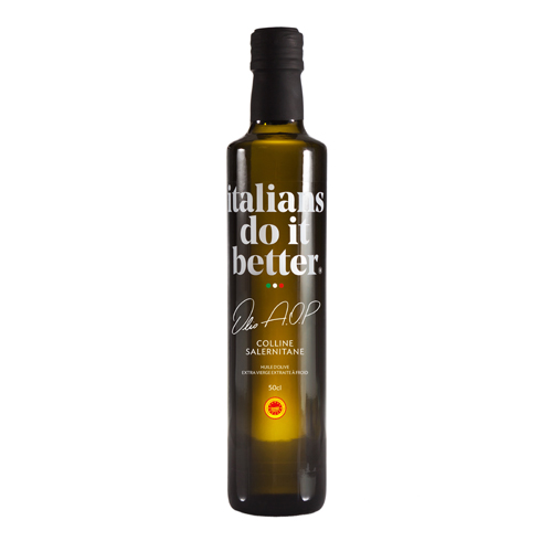 Olio A.O.P   The AOP Colline Salernitane olive oil combines the riches of a secular heritage with innovative extraction techniques. This alliance between tradition and modernity is enhanced with the original and delicate flavour of this olive variety.