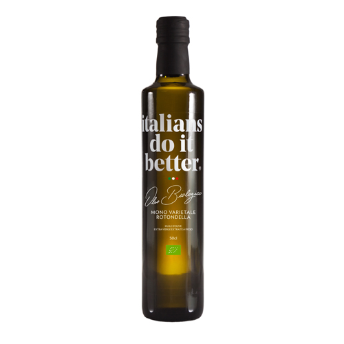 Olio Biologico   An intense green oil with a medium fluidity. This fruity olive oil reveals aromas of greenery and almond notes. It is balanced with spicy and bitter tones that are instantly perceptible.