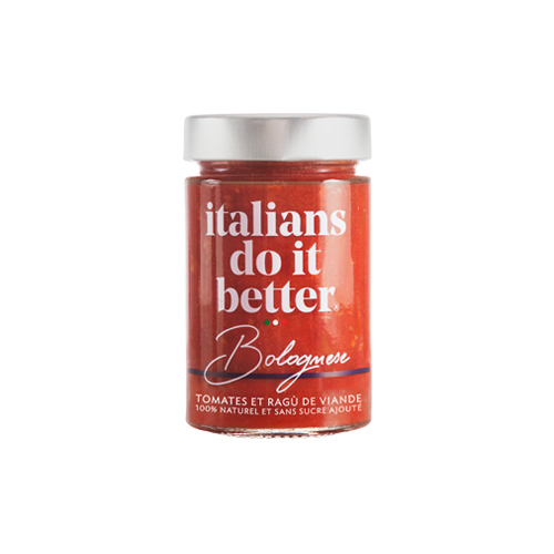 Bolognese   Tomatoes (71%), Beef Meat (14%), Onions, Carrots, Celery, Extra Virgin Olive Oil, Salt, Basil, Garlic, Pepper.  A delicious Bologna recipe, loved for its sophistication among the Italian nobility since the 18th century. Exceptional products perfectly cooked.   How to do it better :  Cook with  spaghetti or fusilli.  Sprinkle everything with Parmigiano Reggiano.
