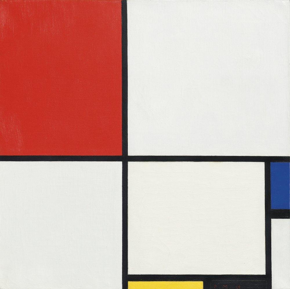 Piet Mondrian, composizione n° 3, composizione con rosso, blu, giallo e nero