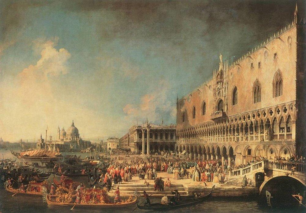 Canaletto, arrivo dell'ambasciatore francese al Palazzo Ducale di Venezia