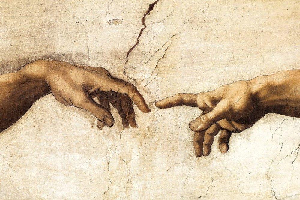 Michelangelo, la creazione di Adamo (particolare)