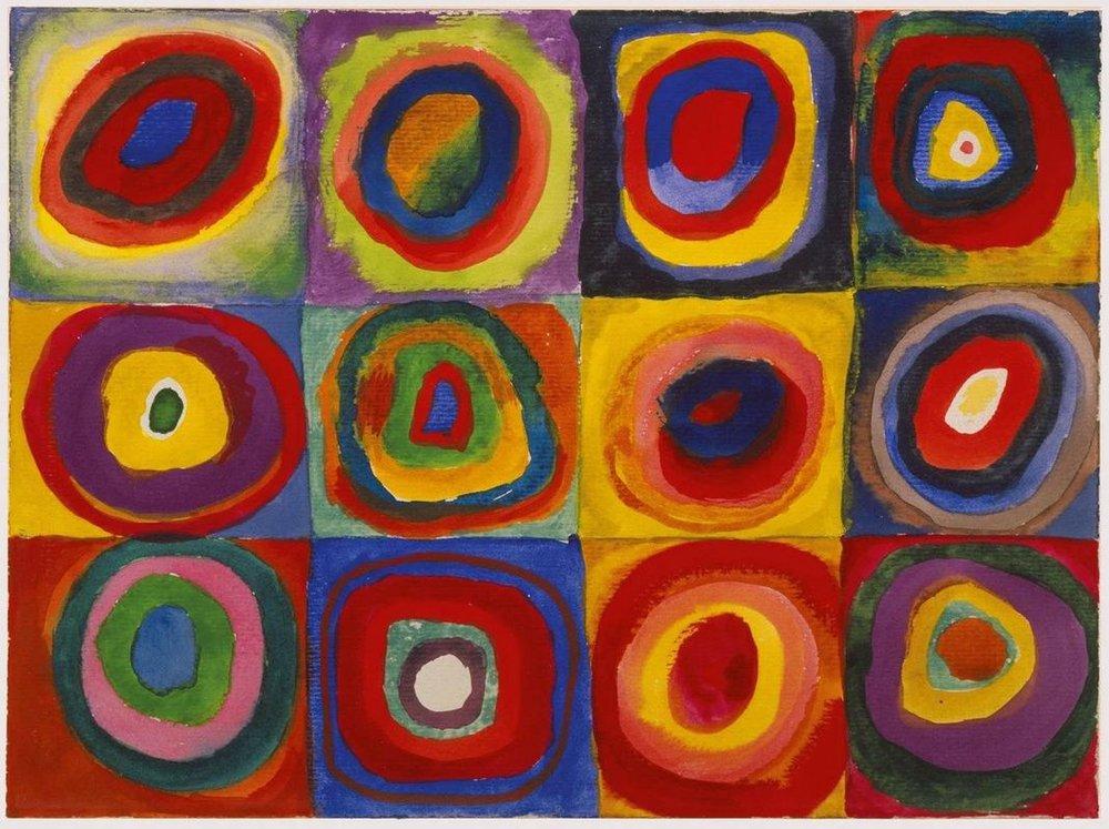 Vassily Kandinsky , Studio di colore. Quadrati con cerchi concentrici