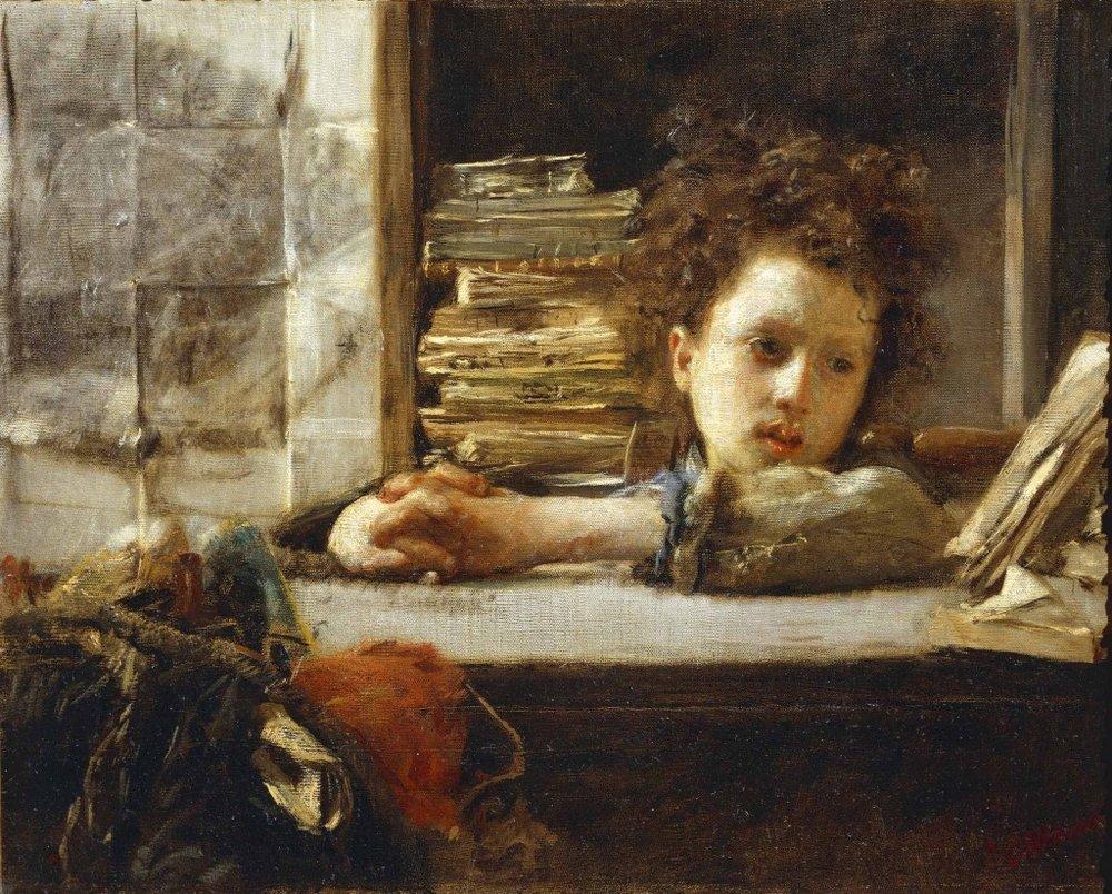 Antonio Mancini, Lo studio e il piccolo scolaro