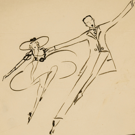 On With the Show: # Clara Tice Drawings of the # New York Stage # March 18 – April 30, 2011 <alt: Drawing of woman and man dancing</>