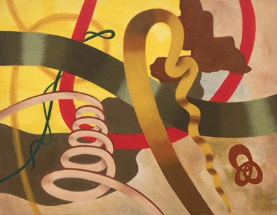 Abstract squiggly floating shapes in brown, red, green, yellow