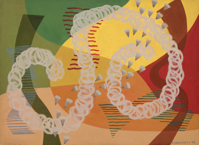 Abstract squiggly floating shapes in white, brown, red, green, yellow, blue