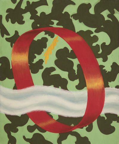 Flora Crockett: # Works from the 1940s and 1950s # May 12 – June 30, 2017 <alt: Red O shape with wavy cloud coming through on green background/>