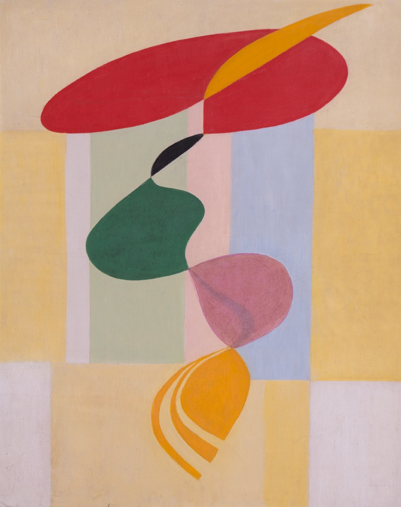 Flora Crockett (1892-1979) # September 28 – November 21, 2015 <alt:Abstract floating shapes (red, yellow, green, pink, black) with blocks of color in background/>
