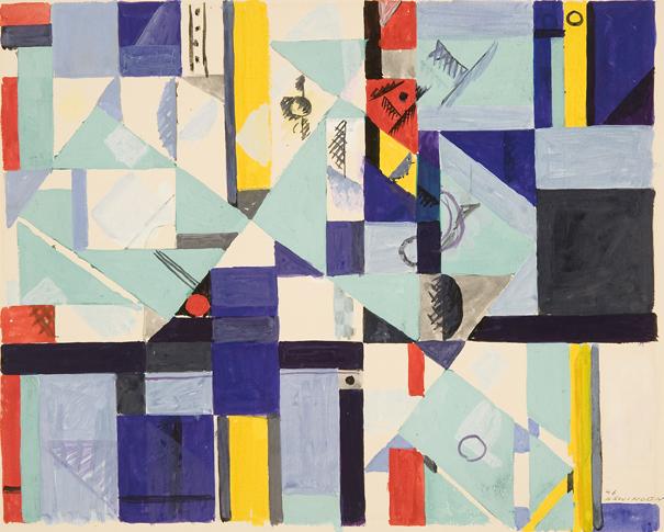 Albert Swinden: # Rhythmic Geometry # November 18 – December 30, 2011 <alt: Abstract shapes in blue, red, black, yellow</>