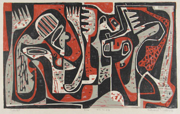 Ted Faiers: # Works on Paper from the Fifties	# May 4 – July 14, 2006 <alt: Abstract black, white, grey, and red shapes</>