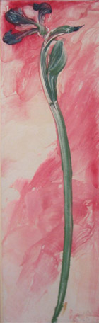 Flower Series 15 , 1923 Tempera and starch on paper 19 x 5 1/4 inches