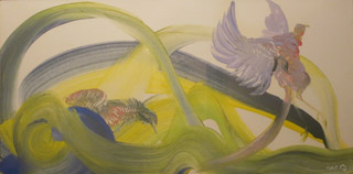 Abstract green, yellow, and purple brushstrokes with bird shapes