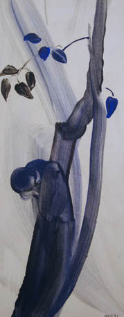 Tree Series No. 16,  1931 Tempera and starch on paper 24 x 9 3/4 inches