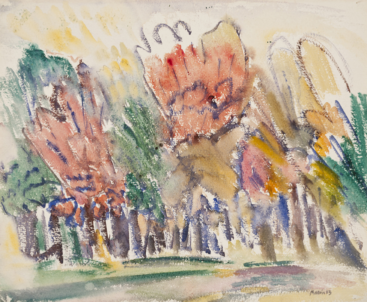 Slightly abstracted watercolor trees in autumnal colors