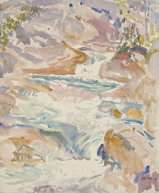 The Brook, Tyrol Series No. II,  1910 Watercolor on paper  18 1/2 x 15 1/4 inches  Inquire