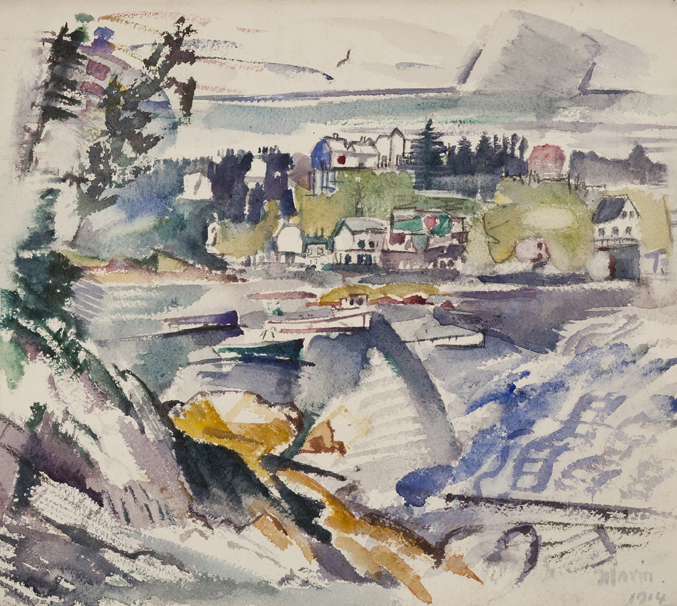 Watercolor landscape with trees, houses, and water