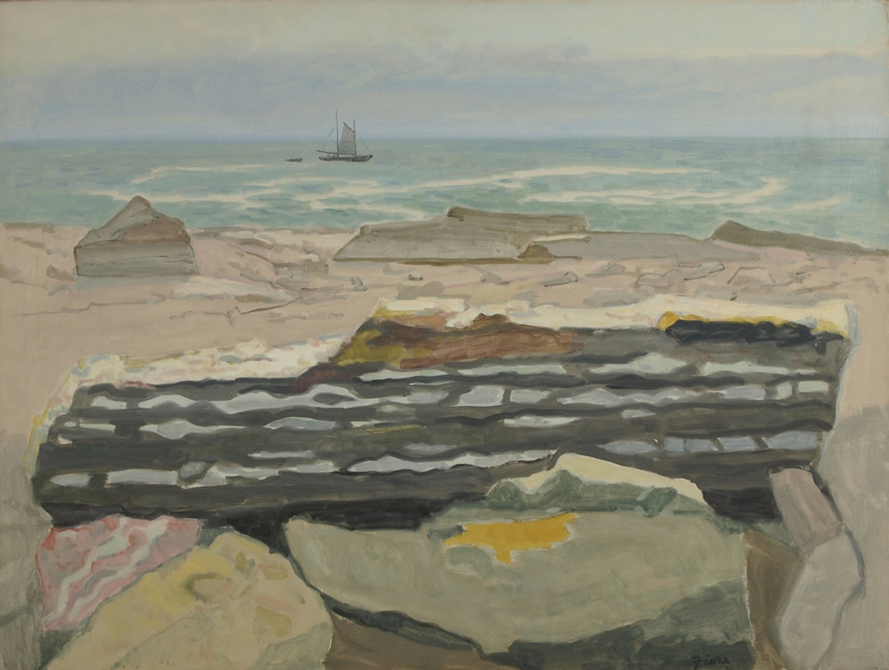 Seascape with rocks and a sailboat in background