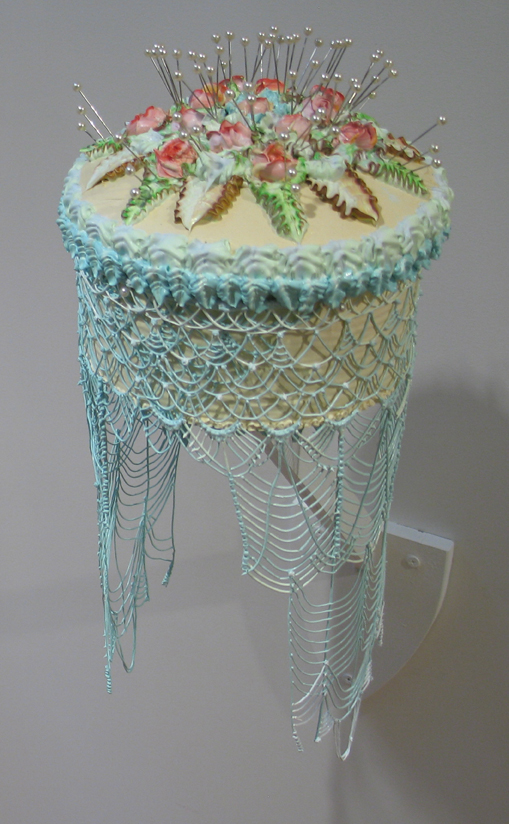 Hanging Cake with Skirt  Acrylic, straight pins, and wood 14 x 6 x 6 inches