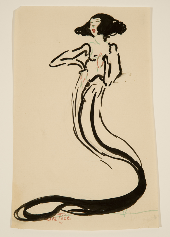 Ink drawing of woman with mermaid-like tail