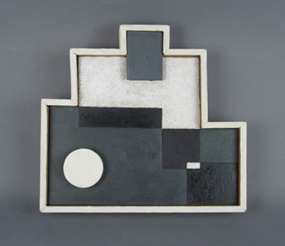 Abstract polygon with white, grey, black and wood