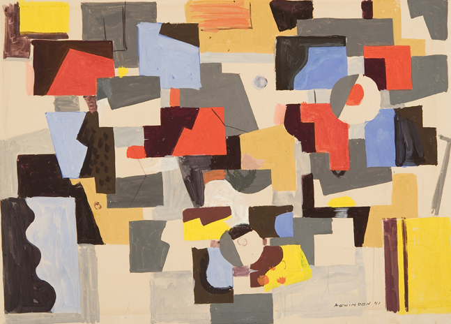 Abstract shapes in red, blue, grey, yellow, black