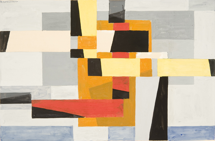 Abstract color blocks (yellow, red, orange, blue, black) intersecting