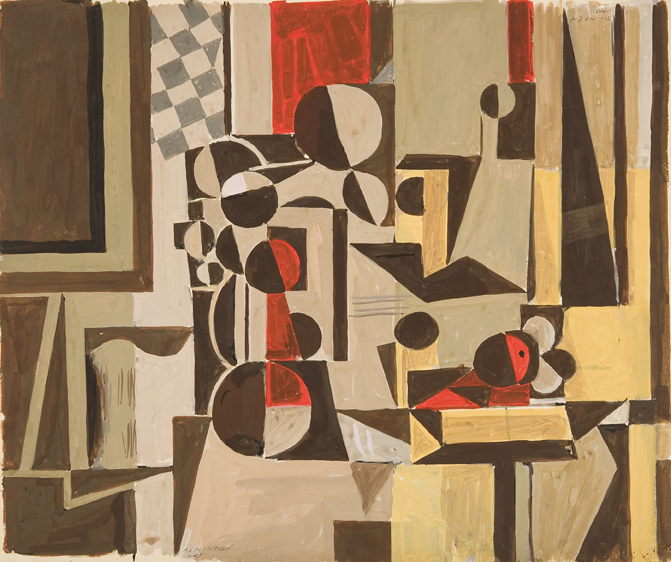 Abstract shapes in muted tones (brown, beige, black)