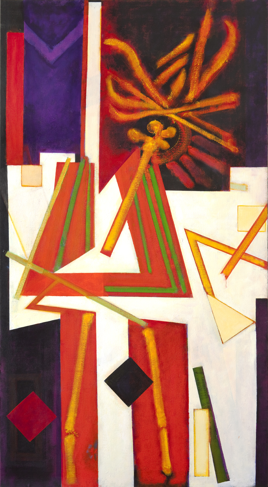 Abstract image with red, green, purple, orange, yellow, and white shapes
