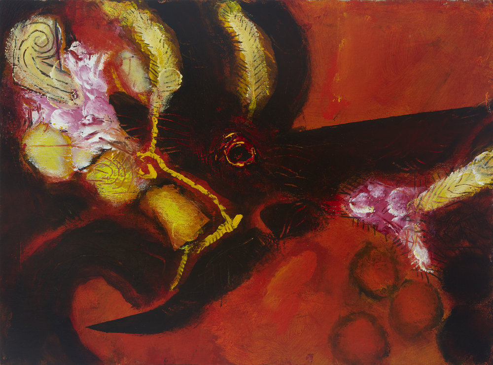 In The Feathered Equinox, 2011 Acrylic on board 9 x 12 inches