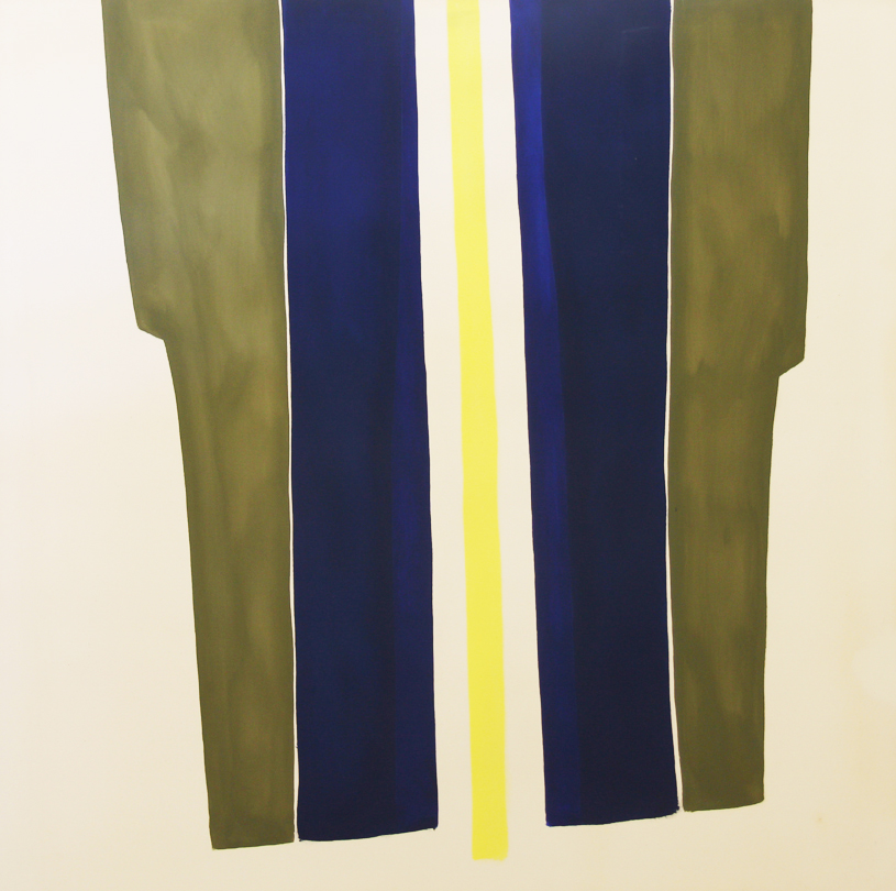 Abstract vertical shapes (green, blue, white, yellow)